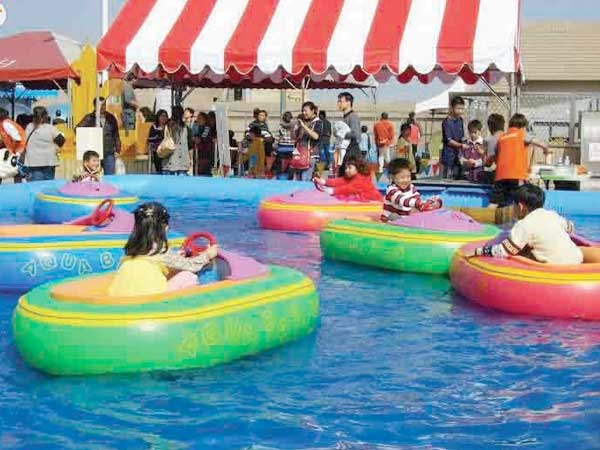 water bumper cars in the pool