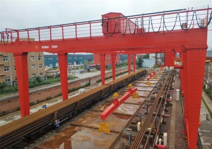 Features double-girder gantry cranes